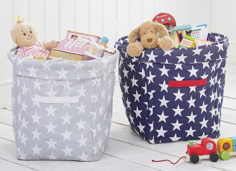 Large Canvas Storage Tubs With Printed Stars Design