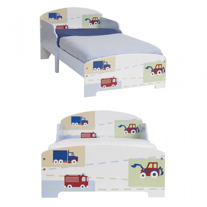 Boy's toddler bed with trucks, tractors and fire engines graphics