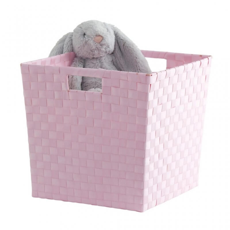 Pink woven plastic storage cube