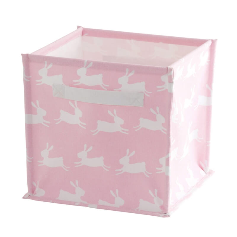 Pink cube with white hare print pattern