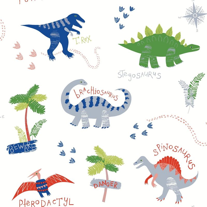 Kid's wallpaper with cute dino prints
