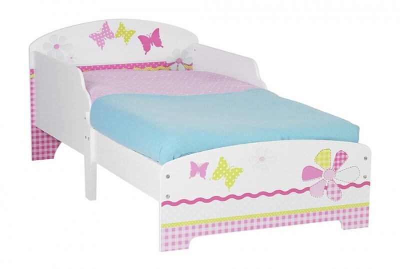 White frame toddler bed with butterfly graphics