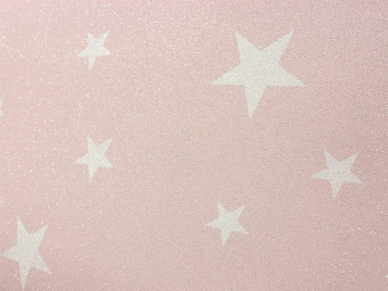 Pink and white star wallpaper with glitter