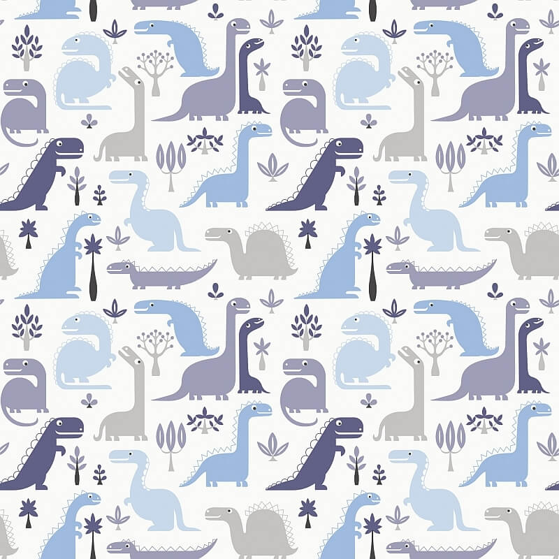 Blue graphic dinosaur print wallpaper