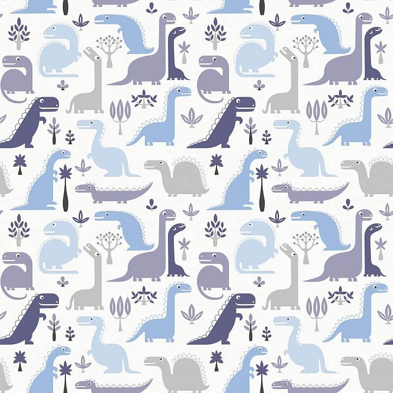 Blue graphic dinosaur print wallpaper