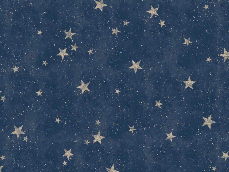 Dark navy wallpaper with gold coloured stars pattern