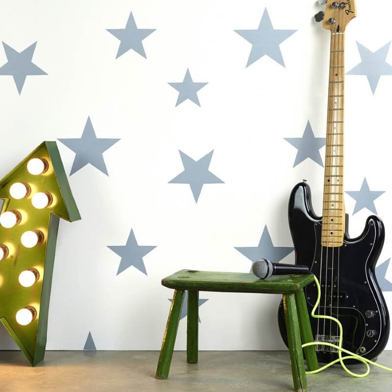 White wallpaper with bold print stars