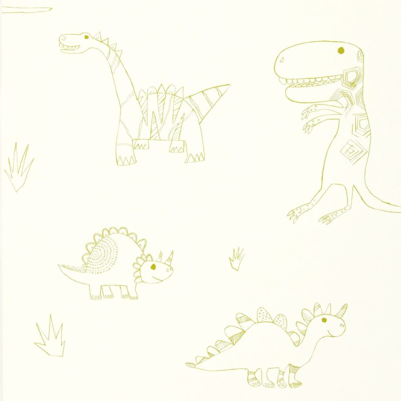 Whimsical dinosaur themed wallpaper