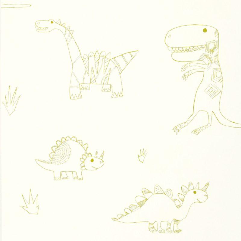 Whimsical dinosaur themed wallpaper