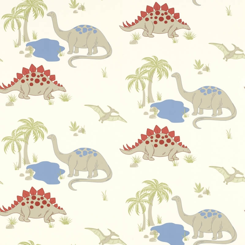 Multi-dinosaur print on a cream background
