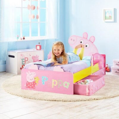 Pink Peppa Pig theme toddler bed with storage drawers