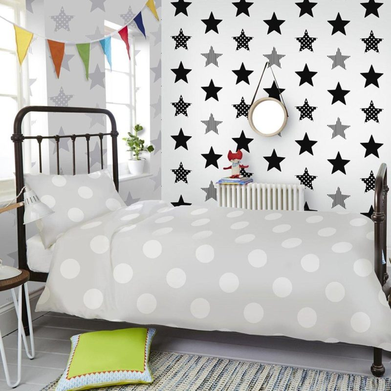 Black and grey star pattern wallpaper