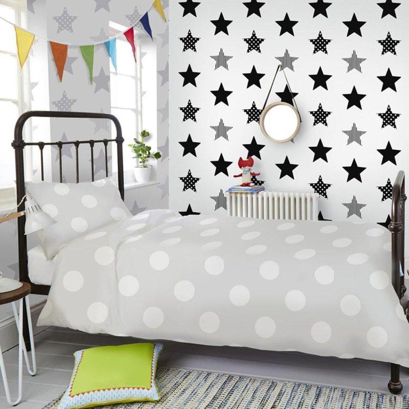 Black and grey star pattern wallpaper