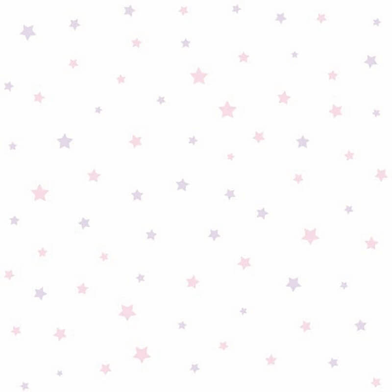 Pink and lilac star pattern wallpaper