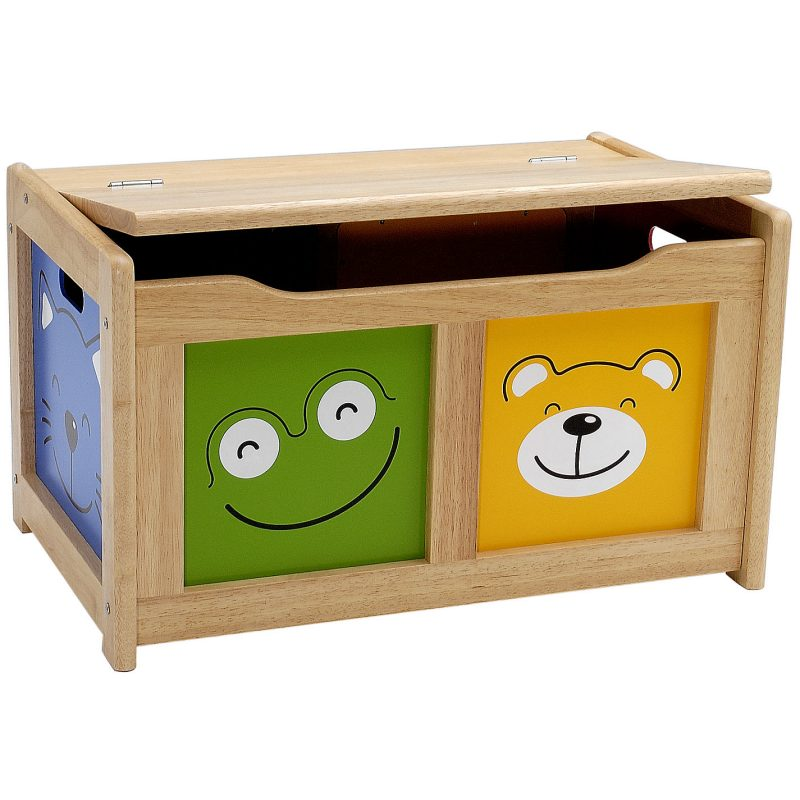 Toy chest with cute animal faces panels