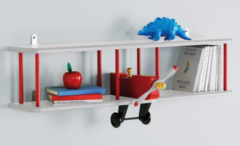 Kid's wall shelf that looks like a bi-plane