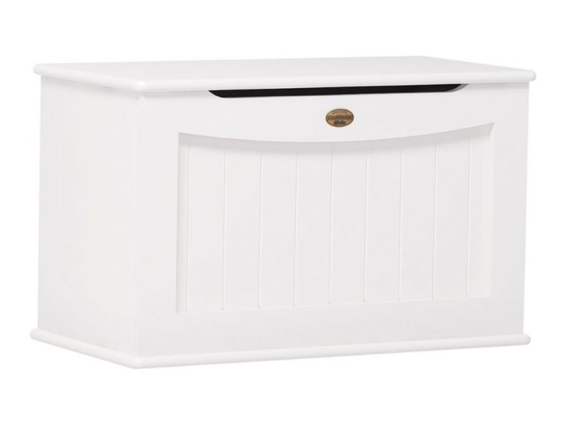 White painted toy chest with hinged lid