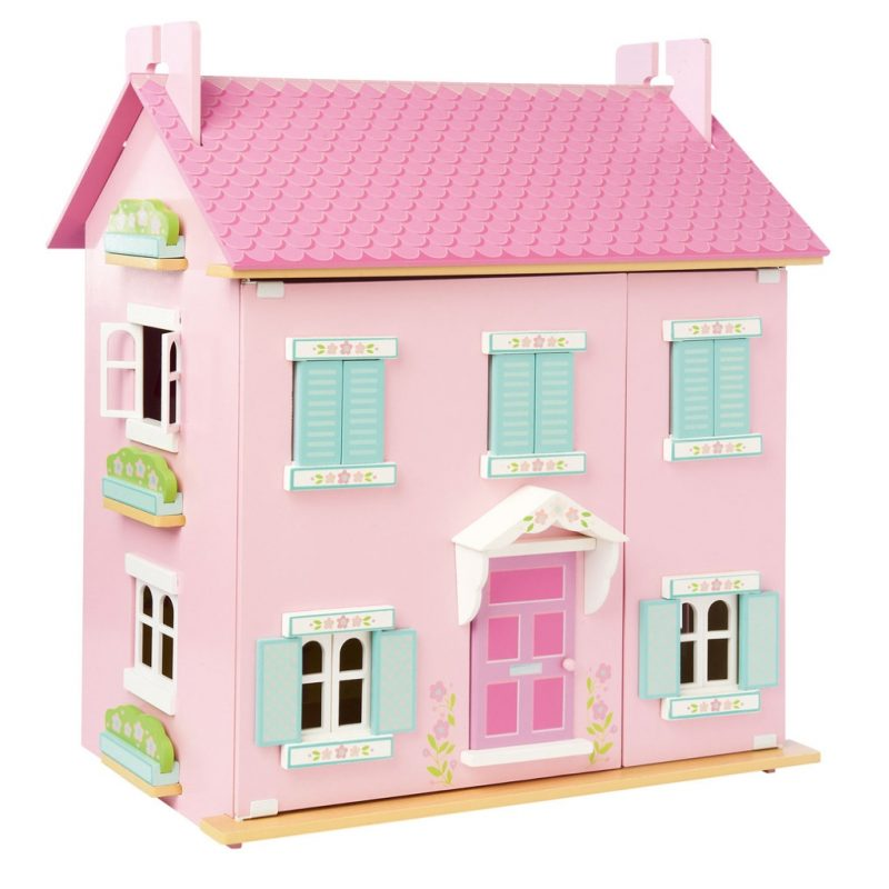 Pink doll's house with blue window shutters