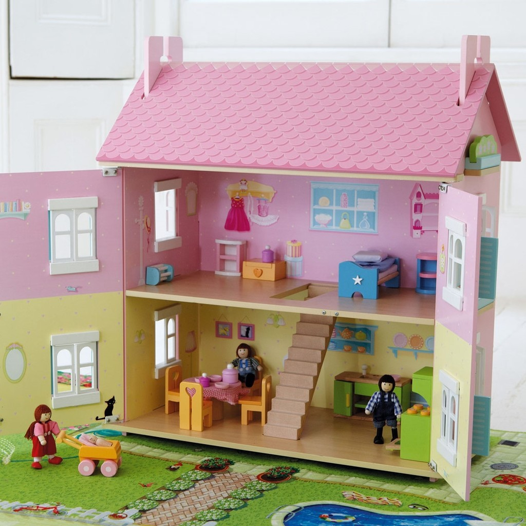 Doll's house with pink roof