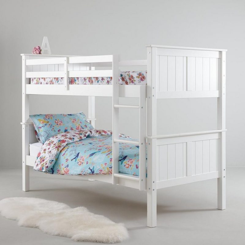 White painted bunk bed frame