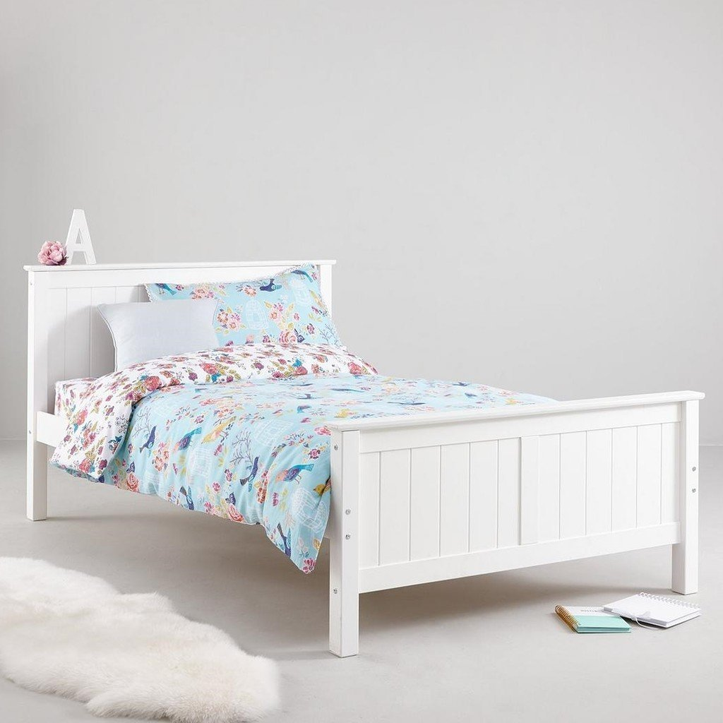 White painted small size double bed frame