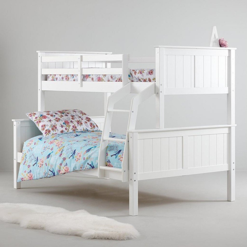 White painted triple sleeper bed