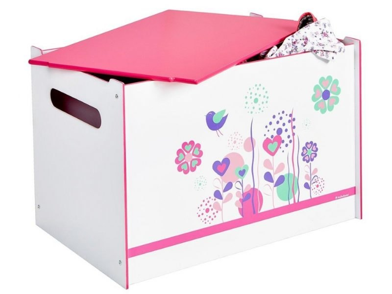 Floral pattern toy chest with pink lid