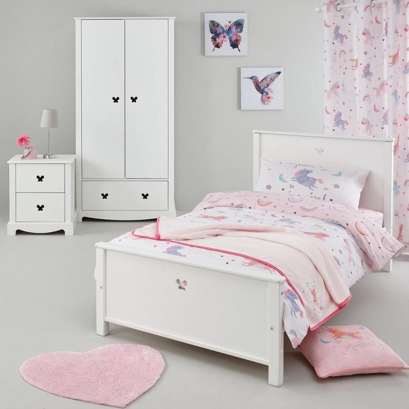 Kid's bedroom furniture with butterfly shape cut-outs