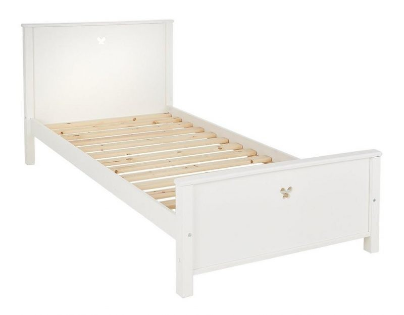 White painted single bed with butterfly cut-outs