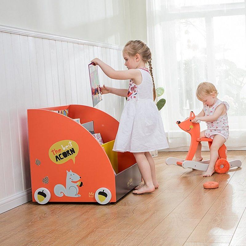 Orange painted mobile bookcase