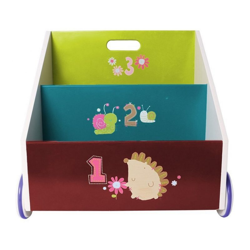 Purple, blue and green hedgehog theme kid's bookcase