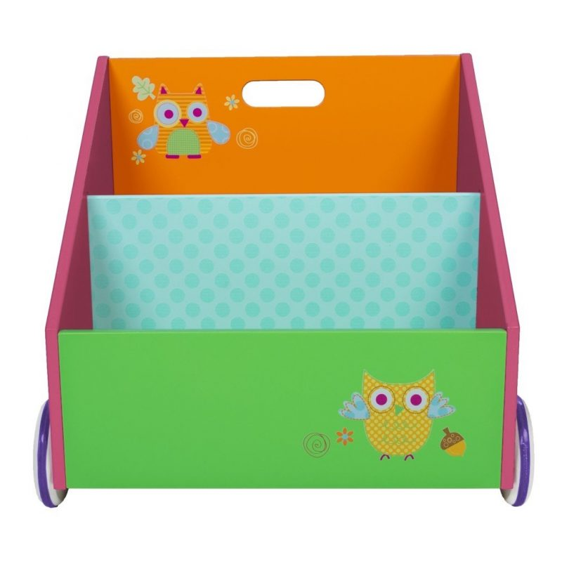 Green, orange and purple bookcase with owls motif