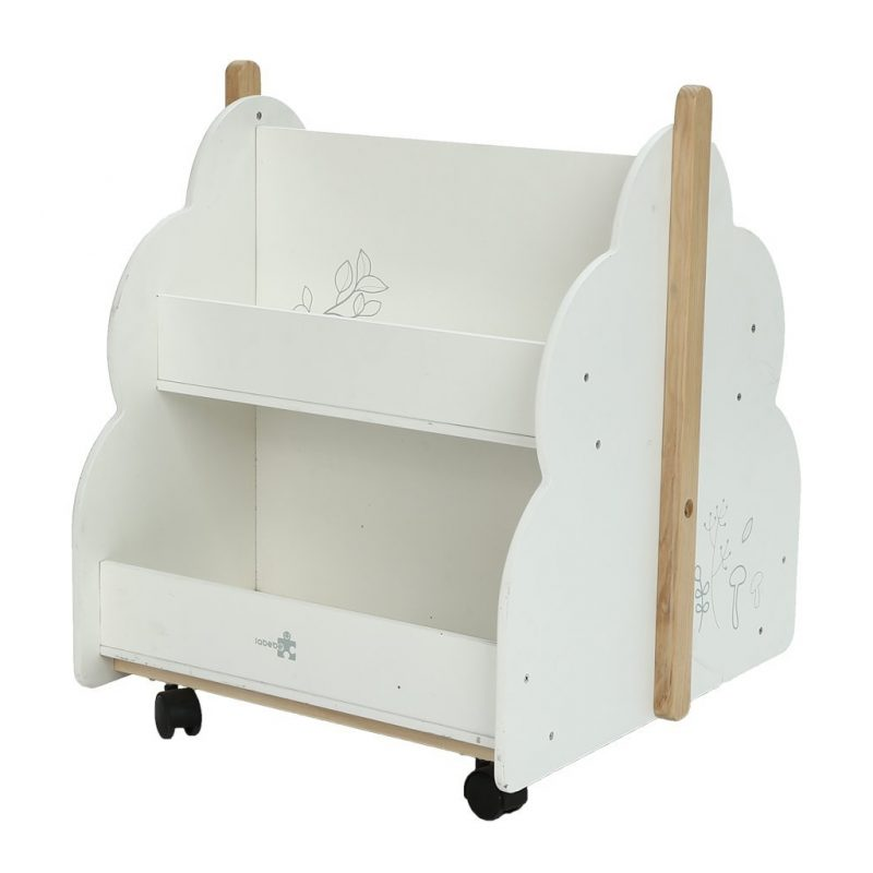 Mobile bookcase in white with bird motif