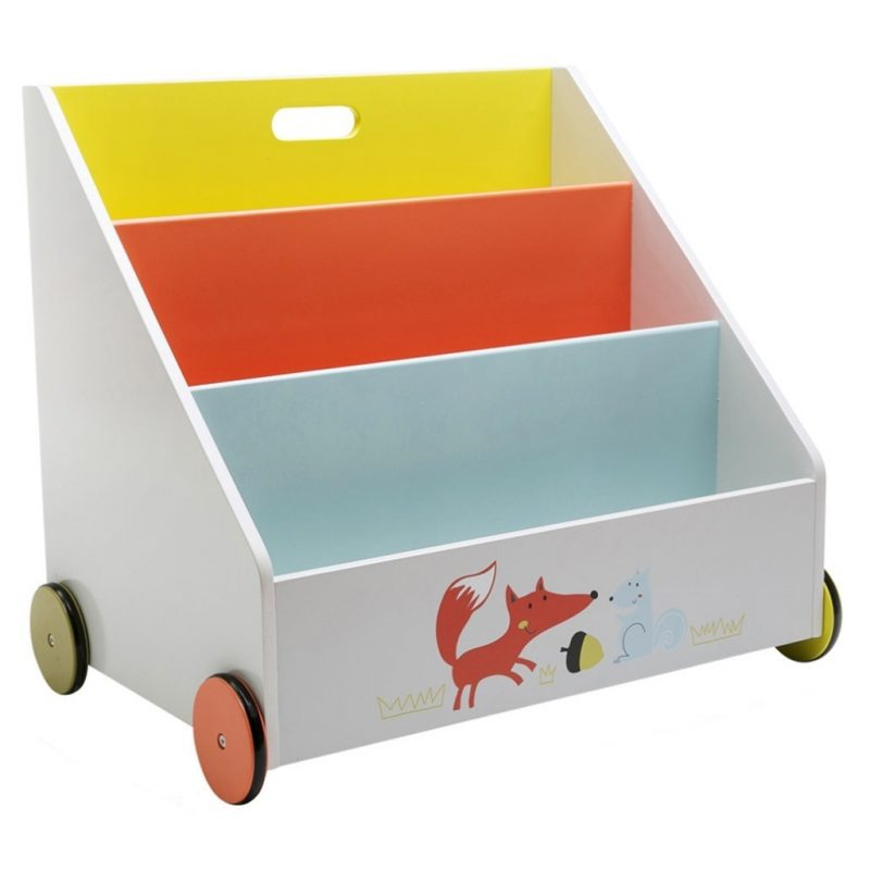 Mobile bookcase with fox motif