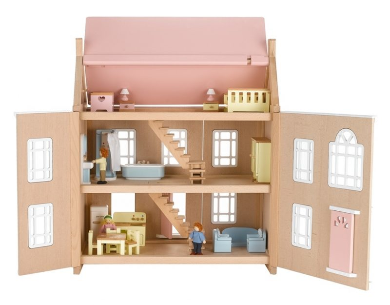 Wooden dolls's house with front opened up