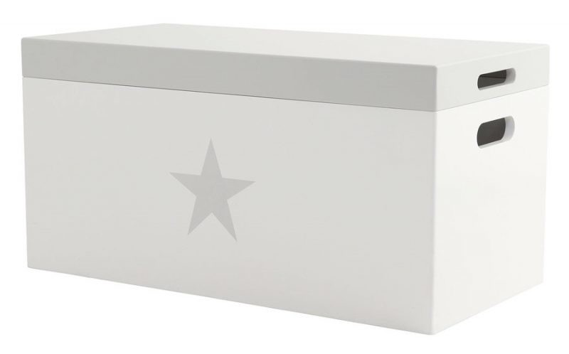 White storage bench with grey lid and grey star motif