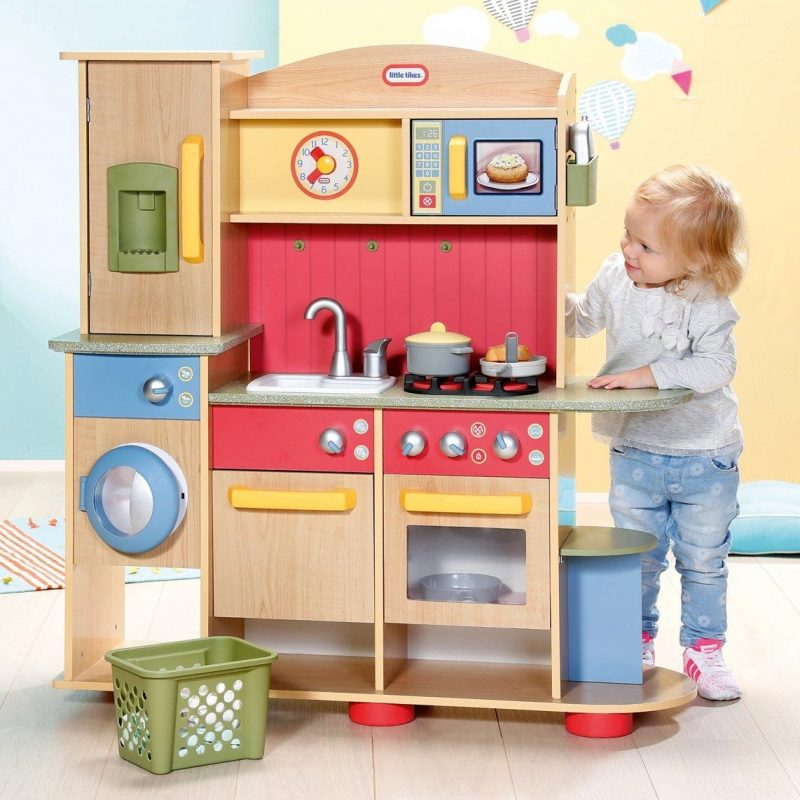 Wooden play kitchen and laundry centre