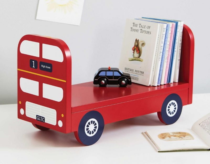 KId's wall shelf in shape of a London bus