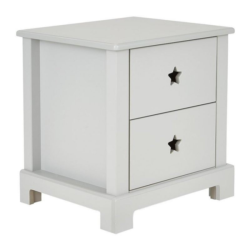2 drawer bedside unit with star cut-outs