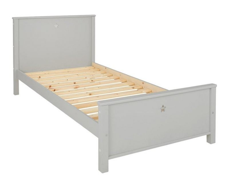 Grey painted single bed frame with star