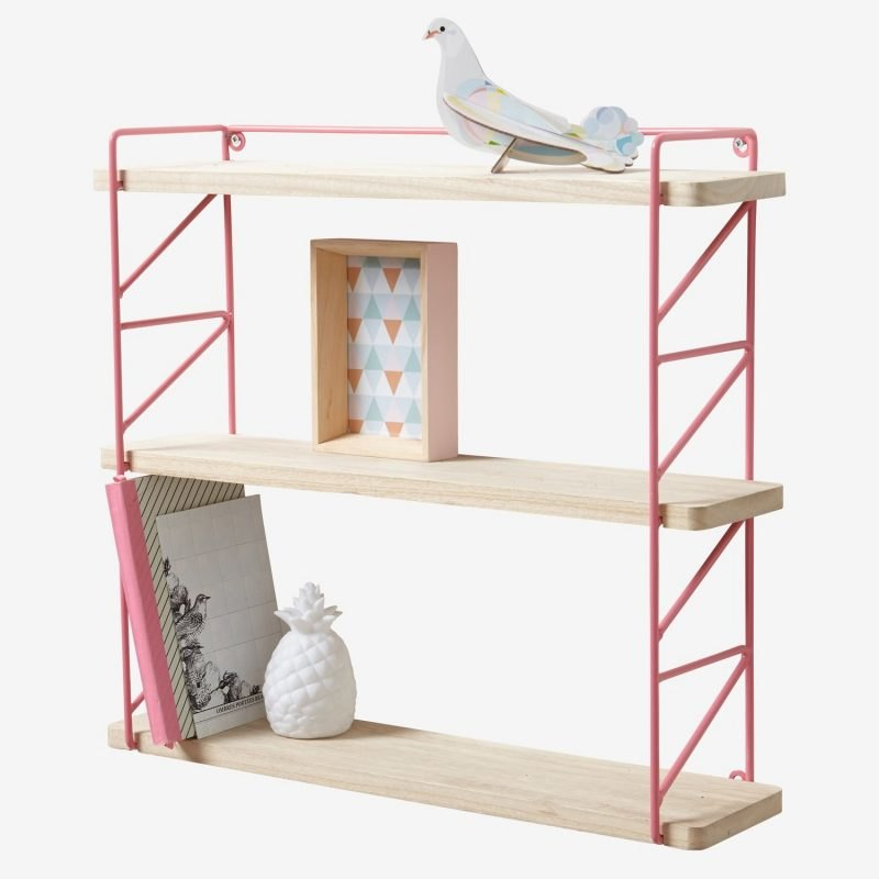 Wire frame and wood shelving unit