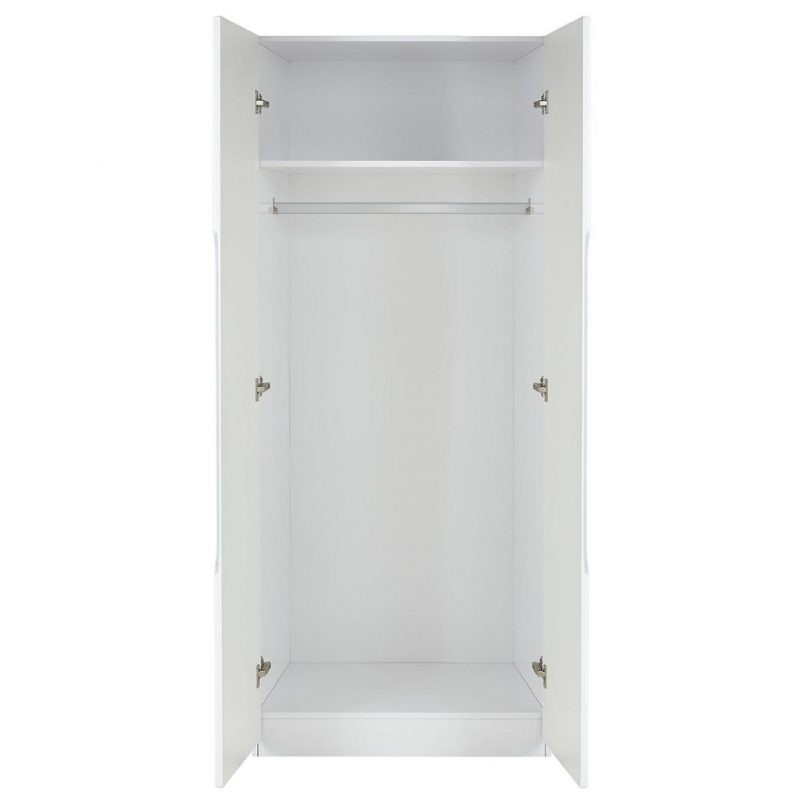 Inside of white 2 door wardrobe