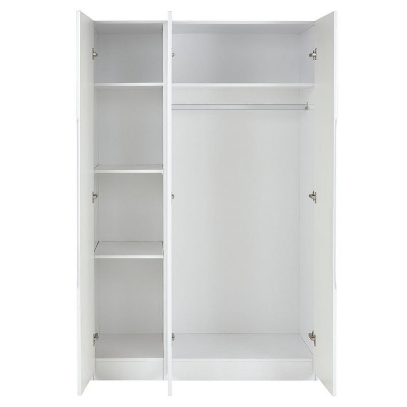 Inside the white 3 door wardrobe