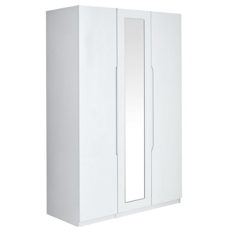White gloss 3 door wardrobe with mirror