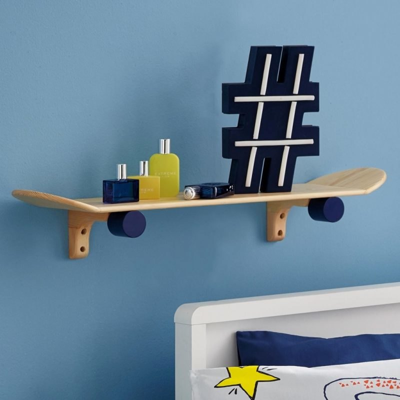Natural wood skateboard shelf