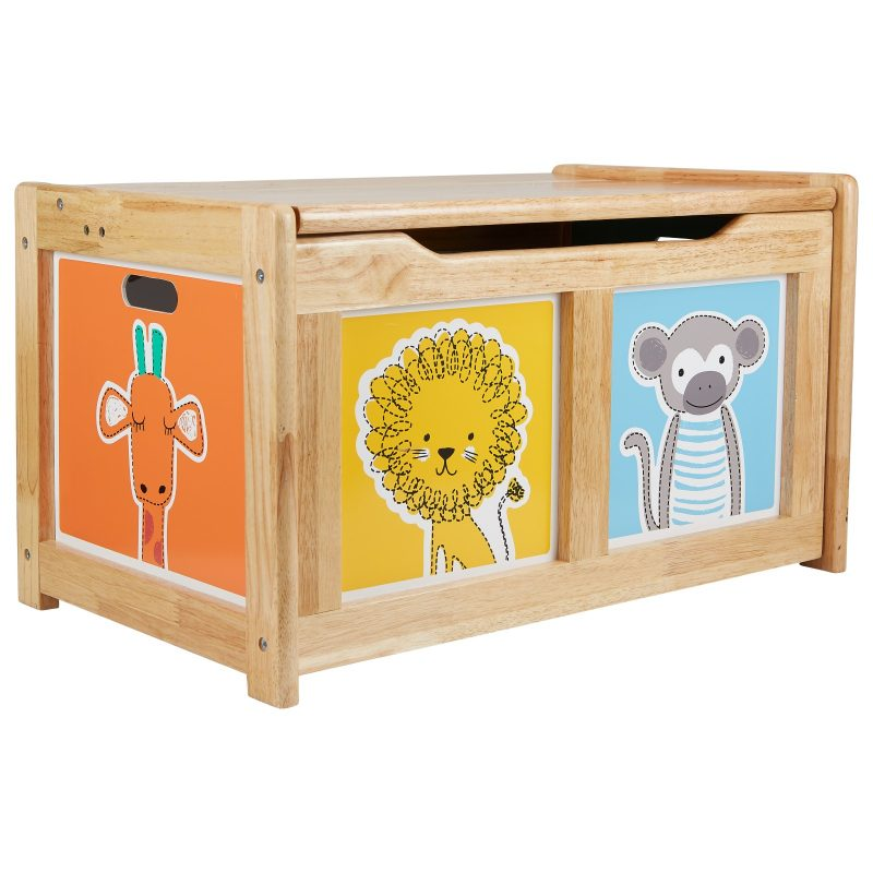Wooden toy Box with Animal Print Panels