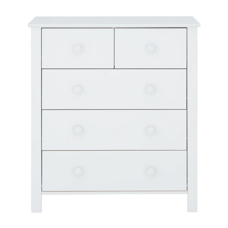 White painted 5 drawer chest