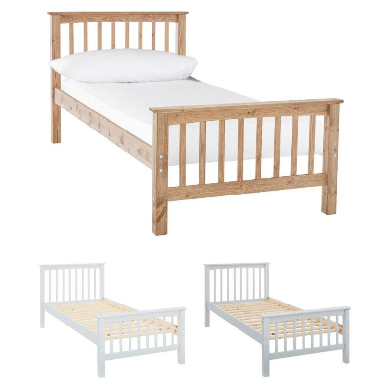 Wooden slatted bed-frame in natural, white and grey