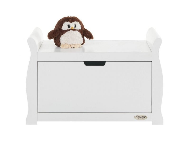 White toy chest with curvy sides