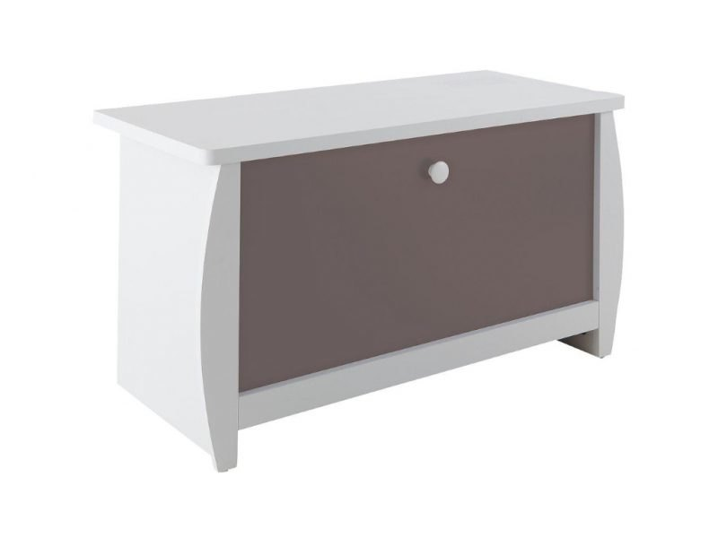 White toy chest with grey panel
